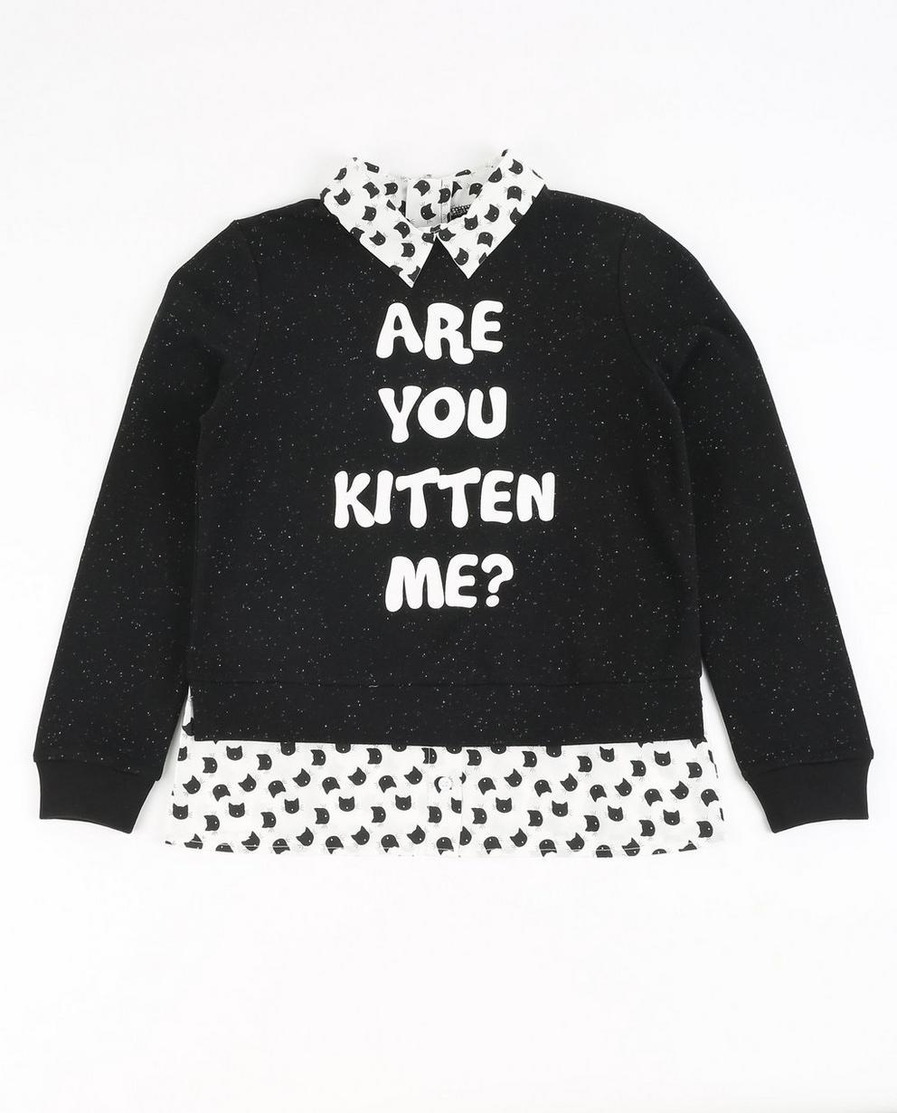 Sweater mit Katzenprint - und zweiteiligem Look - JBC